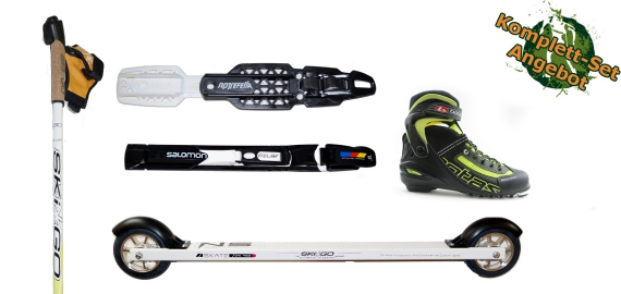 Skirollerkomplettset Skate Einteiger (Skiroller, Bindung, Stöcke, Schuhe)
