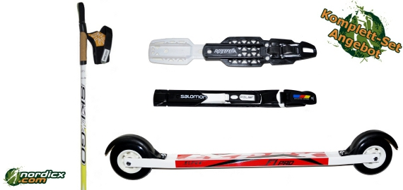 Skirollerset Elpex F1 Pro mit Bindung und Stöcke SkiGo Roller50