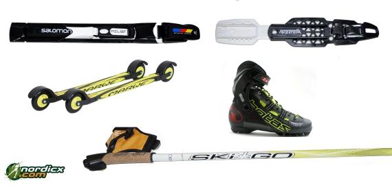 Skirollerkomplettset Skate Profi Marwe (Skiroller, Bindung, Stöcke, Schuhe)