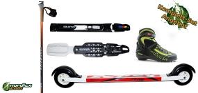 Skirollerkomplettset Skate Fortgeschritten (Skiroller, Bindung, Stöcke, Schuhe)