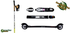 Skirollerset SkiGo XC Skate Carbon, Bindung und Stöcke SkiGo Roller100